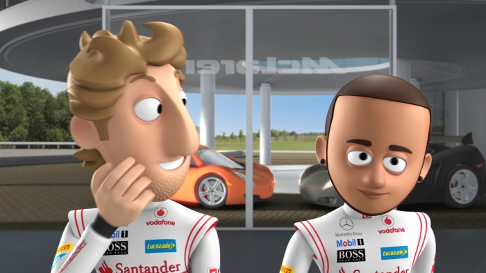 Jenson button and Lewis Hamilton in Tooned
